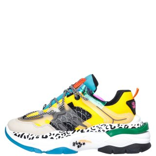 Γυναικεία Sneakers LA3039 Ύφασμα Eco Leather Κίτρινο Πολύχρωμο Adam's