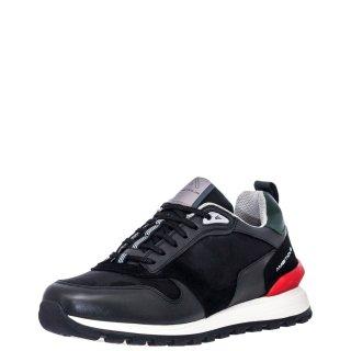 Ανδρικά Sneakers 11083 3495AM SILKY Δέρμα Ύφασμα Μαύρο Ambitious