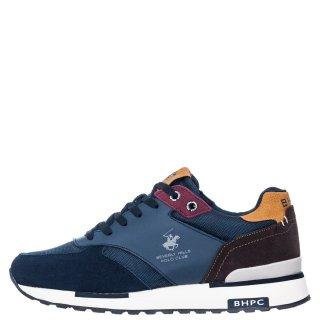 Ανδρικά Sneakers S2194 HM630 Δέρμα Δέρμα Καστόρι Μπλέ Καφέ Beverly Hills Polo Club