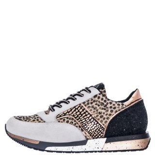 Γυναικεία Sneakers FDL607 Δέρμα Καστόρι Pony Skin Μπεζ Λεοπάρ CafeNoir