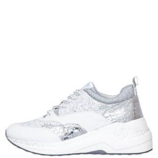 Γυναικεία Sneakers GDA935 1791 Δέρμα Λευκό Ασημί CafeNoir