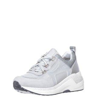Γυναικεία Sneakers GDA941 203 Ύφασμα Δέρμα Καστόρι Γκρι Ασημί CafeNoir