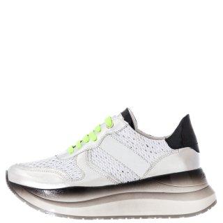 Γυναικεία Sneakers GDC906 1981 Δέρμα Ύφασμα Λευκό Ασημί CafeNoir