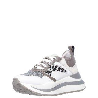 Γυναικεία Sneakers HDC168 Δέρμα Pony Skin Λευκό Ατσαλί CafeNoir