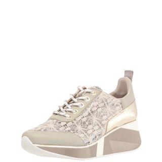Γυναικεία Sneakers IDH423 Δέρμα Ύφασμα Γκρι Μπεζ CafeNoir