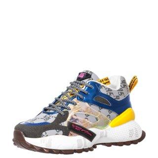 Γυναικεία Sneakers 99130 K20 Ύφασμα Eco Leather Κίτρινο Πολύχρωμο Calgary