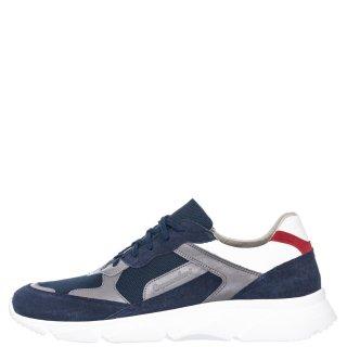 Ανδρικά Sneakers 72129 Δέρμα Ύφασμα Δέρμα Καστόρι Μπλέ Commanchero