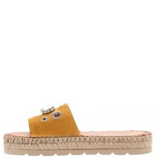 Γυναικείες Παντόφλες E901601 Δέρμα Καστόρι Κίτρινο Fabiolas
