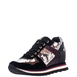 Γυναικεία Sneakers 60454 NAZRAN Δέρμα Καστόρι Δέρμα Φίδι Μαύρο Πολύχρωμο Gioseppo