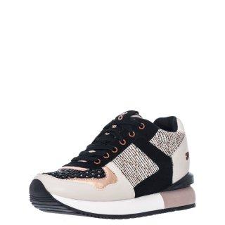 Γυναικεία Sneakers 62576 LUBBOCK Δέρμα Δέρμα Καστόρι Μαύρο Μπεζ Gioseppo
