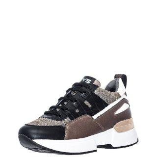 Γυναικεία Sneakers K 3462 Δέρμα Ύφασμα Μαύρο Μπρονζέ Keys