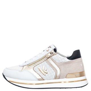 Γυναικεία Sneakers K 4350 Δέρμα Δέρμα Καστόρι Λευκό Χρυσό Keys