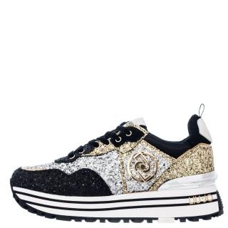 Γυναικεία Sneakers BF1051 TX198 MAXI WONDER 1 Glitter Μαύρο Ασημί Χρυσό Liu-Jo