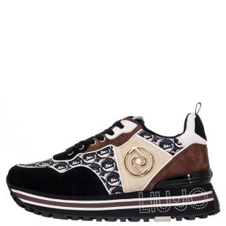 Γυναικεία Sneakers BF1055 PX003 MAXI WONDER 24 Δέρμα Καστόρι Μαύρο Καφέ Liu-Jo