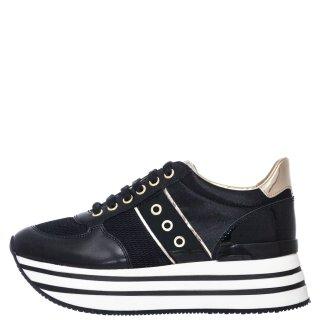 Γυναικεία Sneakers SW58105 001 CONNIE Δέρμα Ύφασμα Μαύρο Lumberjack