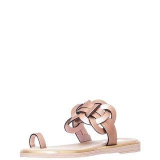 Γυναικείες Παντόφλες 2050/S Δέρμα Ροζ Χρυσό Mariella Fabiani