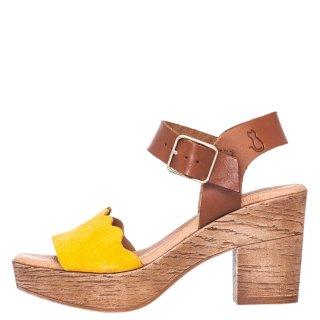 Γυναικεία Πέδιλα 12007311 Δέρμα Δέρμα Καστόρι Κίτρινο Misu