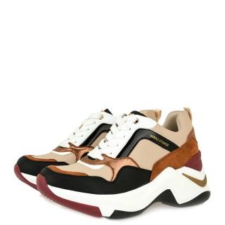 Γυναικεία Sneakers 106 21ΕΧ117 Eco Leather Μαύρο Πολύχρωμο Nude Renato Garini