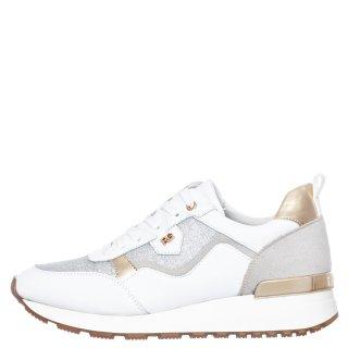 Γυναικεία Sneakers 71 21EX01 Eco Leather Eco Suede Glitter Λευκό Ασημί Χρυσό Renato Garini