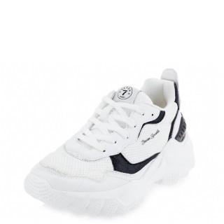 Γυναικεία Sneakers 11358 Ύφασμα Eco Leather Λευκό Seven