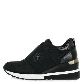 Γυναικεία Sneakers EX9204 Ύφασμα Λουστρίνι Μαύρο Seven