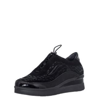 Γυναικεία Sneakers 216820 CREAM 21 Δέρμα Καστόρι Δέρμα Λουστρίνι Μαύρο Stonefly