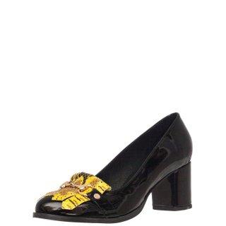 Γυναικείες Γόβες 156 19742 Δέρμα Λουστρίνι Μαύρο Κίτρινο Wall Street