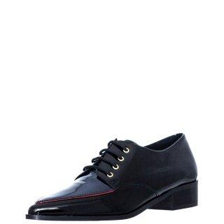 Γυναικεία Casual Παπούτσια 156 20762 Δέρμα Λουστρίνι Μαύρο Μπλέ Wall Street