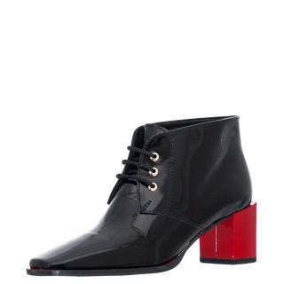 Γυναικεία Μποτάκια 156 21805 Δέρμα Λουστρίνι Μαύρο Wall Street