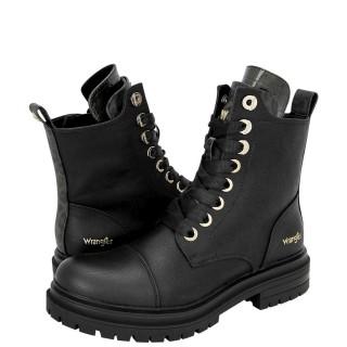 Γυναικεία Μποτάκια WL12611A COURTNEY SAFARI LACE Eco Leather Μαύρο Χακί Wrangler
