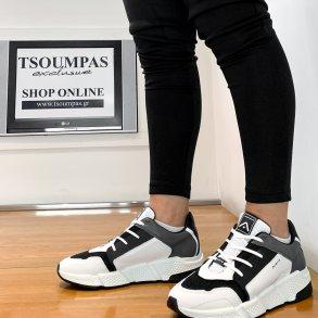 Ανδρικά Sneakers 10452B 6182AM JOKER Δέρμα Ύφασμα Λευκό Ambitious